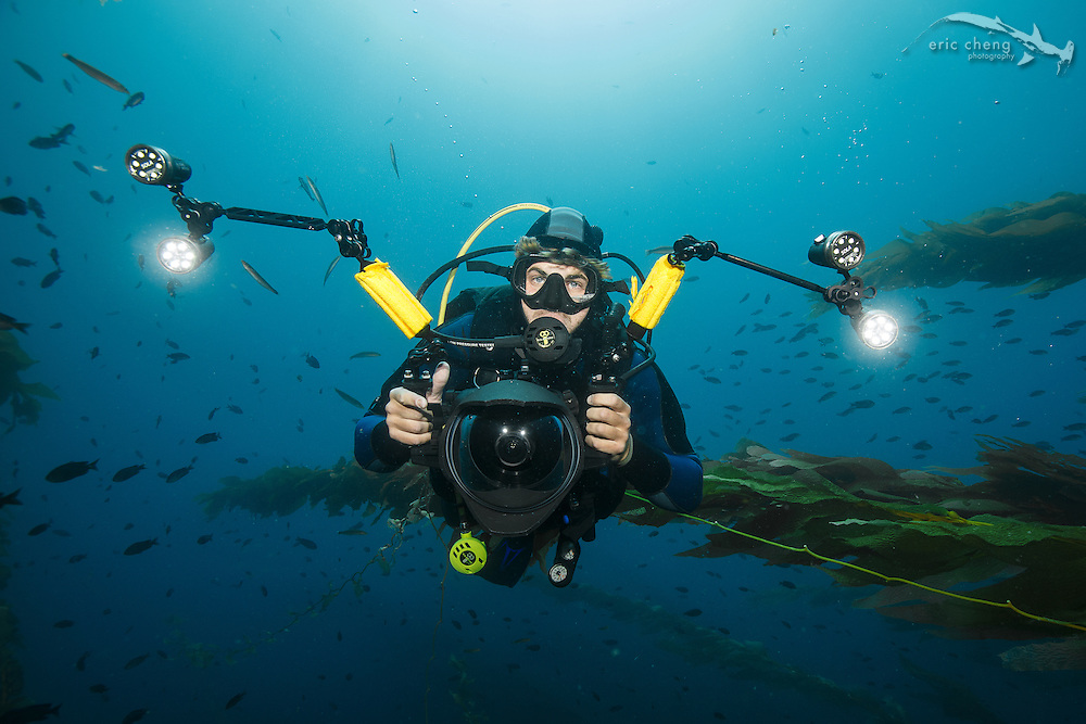 Underwater photographer and scuba diver Joe Platko at Eagle Reef, Catalina, Channel Islands, California.