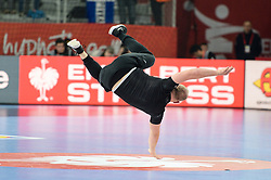 Dancer during handball match between National teams of Macedonia and Czech Republic on Day 6 in Main Round of Men's EHF EURO 2018, on January 23, 2018 in Arena Varazdin, Varazdin, Croatia. Photo by Mario Horvat / Sportida