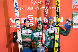 24.11.2017, Nordic Arena, Ruka, FIN, FIS Weltcup Ski Sprung, Nordic Opening, Kuusamo, Secodn placed Johann Andre Forfang of Norway, winner Jernej Damjan of Slovenia and third placed Andreas Wellinger of Germany during the FIS Ski jumping World Cup of the Nordic Opening at the Nordic Arena in Ruka, Finland on 2017/11/24. Sportida © 2017, PhotoCredit: JFK