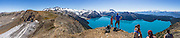 From stunning Panorama Ridge, admire the vibrant turquoise color of Garibaldi Lake, which comes from glacial flour suspended in meltwater from Sphinx and Sentinel Glaciers. Garibaldi Provincial Park is east of the Sea to Sky Highway (Route 99) between Squamish and Whistler in the Coast Range, British Columbia, Canada. A hiking loop to Garibaldi Lake via Taylor Meadows Campground is 11 miles (18k) round trip, with 3010 ft (850m) gain. Panorama Ridge is 6 miles (10k) RT with 2066 ft (630m) gain from either Taylor Meadows or Garibaldi Lake Campground (or 17 miles RT with 5100 ft gain from Rubble Creek parking lot). Global warming/climate change: The Helm Glacier (at far left) had an area of 4.3 square kilometers in 1928, but declined by 78% to 0.92 square kilometers as of 2009. The Helm Glacier's melting trend mirrors that of all glaciers in the Pacific Northwest and fits into the pattern of glacier retreat across Canada (measured in the Canadian Glacier Retreat Index). From the early 1700s to 2005, half (51%) of the glacial ice cover of Garibaldi Provincial Park melted away (reference: Koch et al. 2008, web.unbc.ca). The record of 1900s glacier fluctuations in Garibaldi Park is similar to that in southern Europe, South America, and New Zealand, suggesting a common, global climatic cause.  This panorama was stitched from 8 overlapping images.
