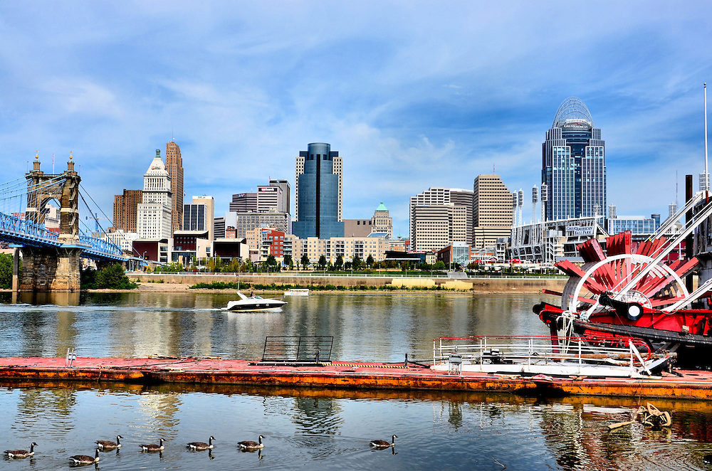 Downtown Skyline Ohio River Paddle Streamer Boat And