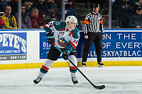 KELOWNA, CANADA - MARCH 3:  Kyle Topping #24 of the Kelowna Rockets skates with the puck against the Portland Winterhawks on March 3, 2019 at Prospera Place in Kelowna, British Columbia, Canada.  (Photo by Marissa Baecker/Shoot the Breeze)