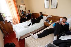 Marko Bezjak, Luka Zvizej and Primoz Prost during visit in the rooms of Slovenia Men Handball team during 5th day of 10th EHF European Handball Championship Serbia 2012, on January 19, 2012 in Hotel Srbija, Vrsac, Serbia.  (Photo By Vid Ponikvar / Sportida.com)