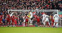 Football - 2018 / 2019 Premier League - Liverpool vs. Burnley<br /> <br /> Ashley Westwood of Burnley scores at Anfield.<br /> <br /> COLORSPORT/LYNNE CAMERON