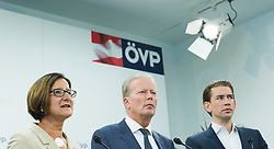 21.09.2015, Bundesparteizentrale, Wien, AUT, ÖVP, Pressekonferenz zum Aktionsplan Asyl. im Bild v.l.n.r. Bundesministerin für Inneres Johanna Mikl-Leitner (ÖVP), Vizekanzler und Minister für Wirtschaft und Wissenschaft Reinhold Mitterlehner (ÖVP) und Bundesminister für europaeische und internationale Angelegenheiten Sebastian Kurz (ÖVP) // f.l.t.r. Minister of the Interior Johanna Mikl-Leitner (OeVP), Vice Chancellor of Austria and Minister of Science and Economy Reinhold Mitterlehner (OeVP) and Foreign Minister of Austria Sebastian Kurz (OeVP) during press conferenc of the austrian people's party according to Refugee crisis in Europe at federal party centre in Vienna, Austria on 2015/09/21. EXPA Pictures © 2015, PhotoCredit: EXPA/ Michael Gruber