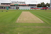 View of the wicket before the Specsavers County Champ Div 2 match between Leicestershire County Cricket Club and Gloucestershire County Cricket Club at the Fischer County Ground, Grace Road, Leicester, United Kingdom on 17 June 2019.