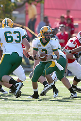 16 October 2010:  Jose Mohler drops into the pocket during a game where the North Dakota State Bison lost to the Illinois State Redbirds 34-24, meeting at Hancock Stadium on the campus of Illinois State University in Normal Illinois.