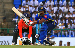 October 20, 2018 - Kandy, Sri Lanka - Sri lankan cricket captain Dinesh Chandimal plays a shot during the 4th One Day International cricket match between Sri Lanka and England at the Pallekele International Cricket Stadium  Sri Lanka. Saturday 20 October 2018  (Credit Image: © Tharaka Basnayaka/NurPhoto via ZUMA Press)