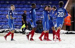 Jack Baldwin of Peterborough United is congratulated by team-mates after scoring the winning goal - Mandatory by-line: Joe Dent/JMP - 27/02/2018 - FOOTBALL - ABAX Stadium - Peterborough, England - Peterborough United v Walsall - Sky Bet League One