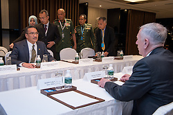 Jun 4, 2017 - Washington, District of Columbia, U.S. - Defense Secretary JIM MATTIS had an introductory meeting in Singapore today with Malaysian Defense Minister HISHAMMUDDIN TUN HUSSEIN on the sidelines of the Shangri-La Dialogue Asia security summit to discuss security challenges and the strong bilateral defense cooperation between the United States and Malaysia, a spokesman for Mattis said in a statement. Navy Cmdr. Gary Ross said the two defense leaders exchanged views on regional security challenges and emphasized the need for continued unity in the Association of Southeast Asian Nations to address shared security challenges facing the region. PICTURED: Defense Secretary Jim Mattis, right, meets with Malaysian Defense Minister Hishammuddin Tun Hussein during the 16th Shangri-La Dialogue Asia security summit in Singapore, June 4, 2017. (Credit Image: © Jette Carr/DOD via ZUMA Wire/ZUMAPRESS.com)