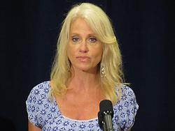 August 8, 2017 - Bridgewater, New Jersey, United States - Counselor to the president Kellyanne Conway speaks to the press with US Health and Human Services Secretary Tom Price (L) after US President Donald Trump held a meeting with administration officials in Bridgewater, New Jersey, on August 8, 2017, on the opioid addiction crisis in the US. (Credit Image: © Kyle Mazza/NurPhoto via ZUMA Press)