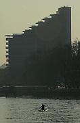 Photo. © Peter Spurrier/Images.01/03/2004  -  Varsity Boat Race Challenge..Elise Laverick, sculling up to Putney Hard .[Mandatory Credit Peter Spurrier/ Intersport Images] Varsity: Boat race Sunrise, Sunsets, Silhouettes