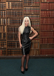 Donatella Versace arrives to give an address to the Oxford Union, Wednesday, 30th May 2012.  Photo by: Mark Chappell / i-Images