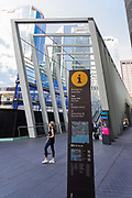 Barangaroo Pedestrian Bridge known as The Wynard Walk, Barangaroo, Sydney, Australia.