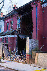 Sumatra Road in West Hampstead, London, where the front facade of a Victorian house undergoing renovation has collapsed. There are no reported casualties. London, February 10 2018.