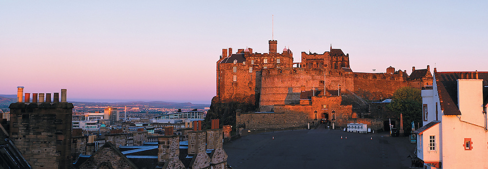 Early morning over Edinburgh Castle esplanade, Scotland