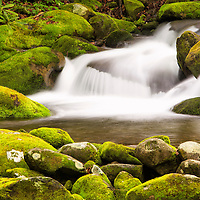 Water cascades through chutes in the moss covered rocks of Roaring Fork in Great Smoky Mountains National Park.