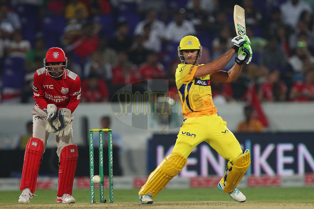 Francois Du PLESSIS of the Chennai Superkings  during the second semi final match of the Oppo Champions League Twenty20 between the Kings XI Punjab and the Chennai Superkings held at the Rajiv Gandhi Cricket Stadium, Hyderabad, India on the 2nd October 2014<br /> <br /> Photo by:  Ron Gaunt / Sportzpics/ CLT20<br /> <br /> <br /> Image use is subject to the terms and conditions as laid out by the BCCI/ CLT20.  The terms and conditions can be downloaded here:<br /> <br /> http://sportzpics.photoshelter.com/gallery/CLT20-Image-Terms-and-Conditions-2014/G0000IfNJn535VPU/C0000QhhKadWcjYs