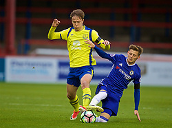 ALDERSHOT, ENGLAND - Friday, April 21, 2017: Everton's Kieran Dowell in action against Chelsea's Kyle Scott during FA Premier League 2 Division 1 Under-23 match at the Recreation Ground. (Pic by David Rawcliffe/Propaganda)