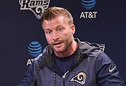 Los Angeles Rams coach Sean McVay speaks at press conference at Cal Lutheran.