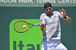 April 1, 2018 - Miami, FL, United States - KEY BISCAYNE, FL - APRIL 1: John Isner (USA) in action defeats Alexander Zverev (GER) 67(4) 64 64 2018 Miami Open held at the Tennis Center at Crandon Park on April 1, 2018.   Credit: Andrew Patron/Zuma Wire (Credit Image: © Andrew Patron via ZUMA Wire)