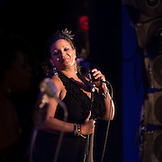 "Singer ""Lady Creole"" performs with Vaud and the Villains at The Music Hall in Portsmouth, NH. July 2012."