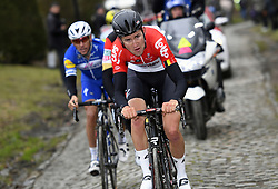 March 23, 2018 - Harelbeke, BELGIUM - Belgian Tiesj Benoot of Lotto Soudal pictured in action during the 61st edition of the 'E3 Prijs Vlaanderen Harelbeke' cycling race, 206,5 km from and to Harelbeke, Friday 23 March 2018. BELGA PHOTO POOL VINCENT KALUT (Credit Image: © Pool Vincent Kalut/Belga via ZUMA Press)