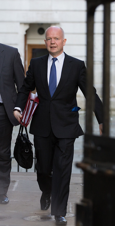 The Foreign Secretary William Hague of the United Kingdom arrives for the cabinet meeting at 10 Downing Street, London, United Kingdom. Tuesday, 8th April 2014. Picture by Daniel Leal-Olivas / i-Images