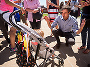 09 JUNE 2019 - DES MOINES, IOWA: BETO O'ROURKE, Democratic candidate for president, talks to a baby before speaking at the candidate forum at Capital City Pride Fest. Many of the Democratic presidential candidates campaigned at Capital City Pride Fest in Des Moines Saturday. Iowa traditionally hosts the the first selection event of the presidential election cycle. The Iowa Caucuses will be on Feb. 3, 2020.                   PHOTO BY JACK KURTZ