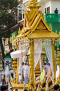"""01 FEBRUARY 2013 - PHNOM PENH, CAMBODIA:   The funeral procession of former King Norodom Sihanouk. Norodom Sihanouk (31 October 1922- 15 October 2012) was the King of Cambodia from 1941 to 1955 and again from 1993 to 2004. He was the effective ruler of Cambodia from 1953 to 1970. After his second abdication in 2004, he was given the honorific of """"The King-Father of Cambodia."""" Sihanouk died in Beijing, China, where he was receiving medical care, on Oct. 15, 2012. His cremation is will be on Feb. 4, 2013. Over a million people are expected to attend the service.  PHOTO BY JACK KURTZ"""