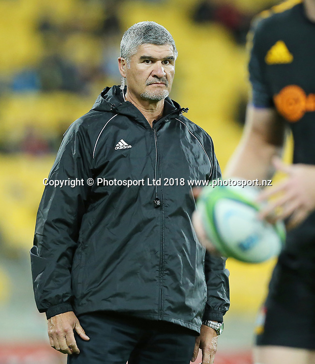 Chiefs coach Colin Cooper. Hurricanes V Chiefs. Super Rugby round 8 at Westpac Stadium, Wellington. 13th April 2018. © Copyright Photo: Grant Down / www.photosport.nz