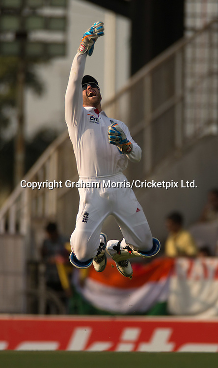 Matt Prior celebrates catching Gautam Gambhir off the bowling of James Anderson during the fourth and final Test Match between India and England at the VCA Stadium, Jamtha, Nagpur. Photograph: Graham Morris/cricketpix.com (Tel: +44 (0)20 8969 4192; Email: sales@cricketpix.com)  14/12/12
