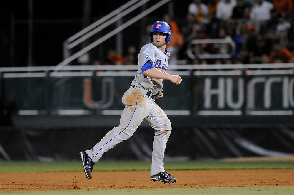 March 2, 2012: Nolan Fontana #4 of Florida in action during the game between the Miami Hurricanes and Florida Gators at Alex Rodriguez Park in Coral Gables, FL. The Gators defeated the Hurricanes 7-5.