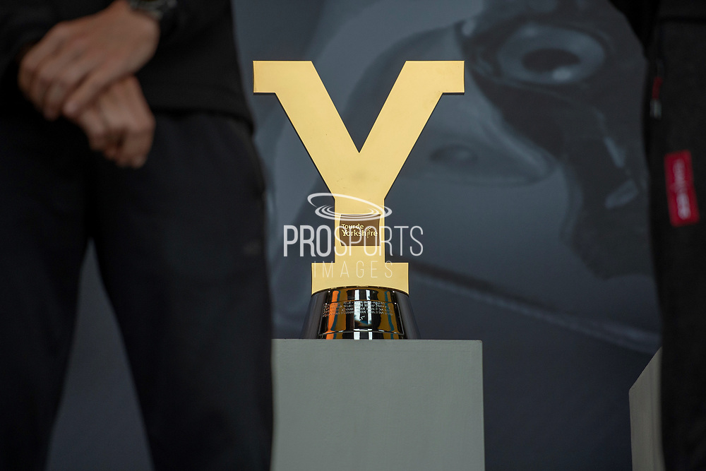 The Tour De Yorkshire Trophy displayed on stage during the Eve of Tour celebrations in Millennium square,Leeds, United Kingdom on 1 May 2019.