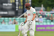 Wicket - Will Jacks of Surrey looks dejected as he walks back to the pavilion after being dismissed by Ed Barnard of Worcestershire during the final day of the Specsavers County Champ Div 1 match between Worcestershire County Cricket Club and Surrey County Cricket Club at New Road, Worcester, United Kingdom on 13 September 2018.