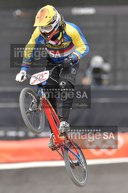 LONDON, ENGLAND - AUGUST 8, Emilio Falla Buchely of Ecuador during the BMX Seeding Run at the BMX Track  on August 8, 2012 in London, England.Photo by Roger Sedres / Gallo Images