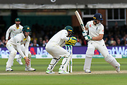 Jos Buttler of England leaves a ball bowled by Nathan Lyon of Australia during the International Test Match 2019 match between England and Australia at Lord's Cricket Ground, St John's Wood, United Kingdom on 18 August 2019.