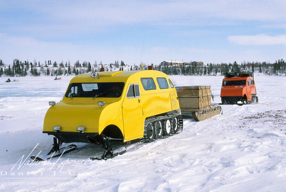 Snowcoaches departing Wat'chee Lodge to look for polar bears. Wapusk National Park, Canada