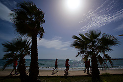 LARNACA, CYPRUS - Thursday, March 1, 2018: Wales players during a team walk around the Palm Beach Hotel & Bungalows in Larnaca on day three of the Cyprus Cup tournament. (Pic by David Rawcliffe/Propaganda)