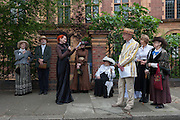 Exactly 110 years after it opened, and 100 days after it was closed, campaigners against the closure of Carnegie Library in Herne Hill, south London dressed in Edwardian clothing for speeches and a street party on 9th July, London. Shut by Lambeth council and occupied by protesters for 10 days in April, the library which was bequeathed by American philanthropist, Andrew Carnegie has been locked ever since because, say Lambeth austerity cuts are necessary even though 24hr security make it more expensive to keep closed than open for the local community. A gym that locals say they don't want or need is planned to replace the working library and while some of the 20,000 books on shelves will remain, no librarians will be present to administer it.