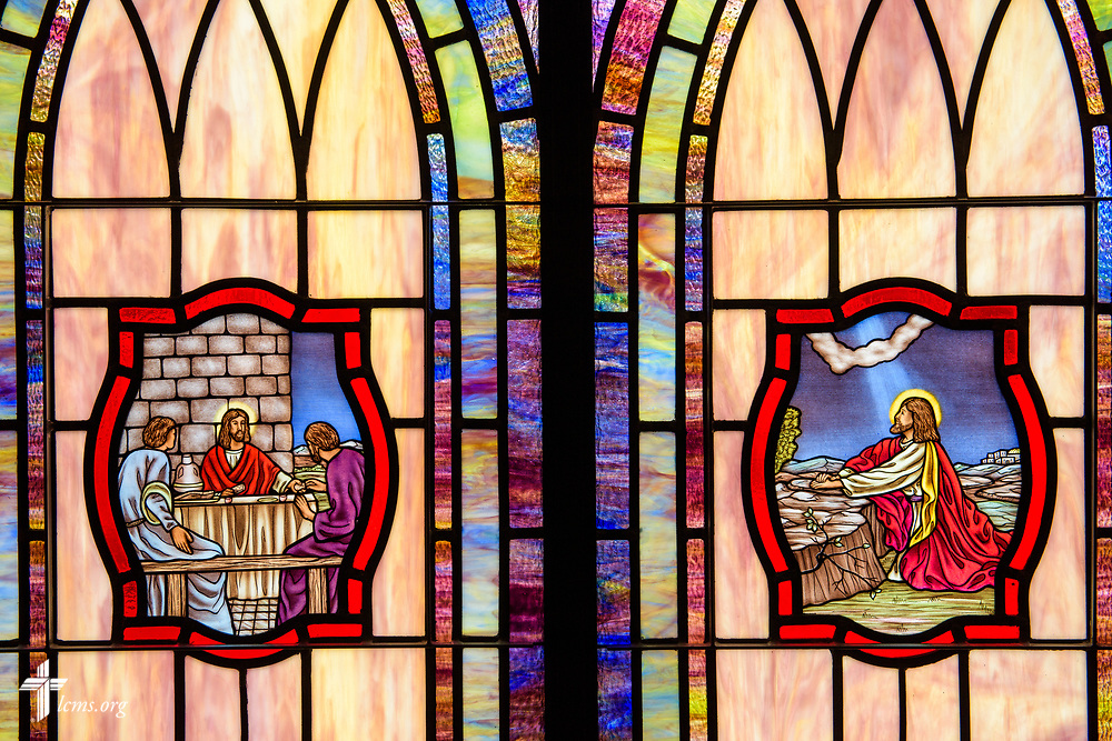 Stained glass depicting the Institution of the Lord's Supper (Luke 22:14) and Jesus Christ praying in Gethsemane (Luke 22:42) at St. John's Lutheran Church, Conover, N.C, on Friday, April 21, 2017. LCMS Communications/Erik M. Lunsford