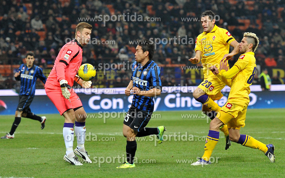10.12.2011, Stadion Giuseppe Meazza, Mailand, ITA, Serie A, Inter Mailand vs AC Florenz, 15. Spieltag, im Bild Il gol di Yuto NAGATOMO (Inter) goal celebration the football match of Italian 'Serie A' league, 15th round, between Inter Mailand and AC Florenz at Stadium Giuseppe Meazza, Milan, Italy on 2011/12/10. EXPA Pictures © 2011, PhotoCredit: EXPA/ Insidefoto/ Alessandro Sabattini..***** ATTENTION - for AUT, SLO, CRO, SRB, SUI and SWE only *****