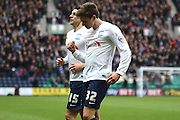 Preston North End Midfielder Adam Reach celebrates during the Sky Bet Championship match between Preston North End and Brentford at Deepdale, Preston, England on 23 January 2016. Photo by Pete Burns.