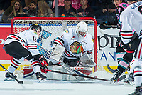 KELOWNA, CANADA - OCTOBER 21: Henri Jokiharju #16 tries to block a shot as Shane Farkas #1 of the Portland Winterhawks defends the net against the Kelowna Rockets on October 21, 2017 at Prospera Place in Kelowna, British Columbia, Canada.  (Photo by Marissa Baecker/Shoot the Breeze)  *** Local Caption ***
