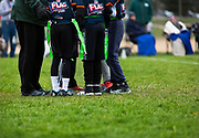 Players from Mount Horeb and Middleton compete in the 4th Grade Flag Football Championships at the Hometown USA Community Park in Verona, Wisconsin, Saturday, October 28, 2017.