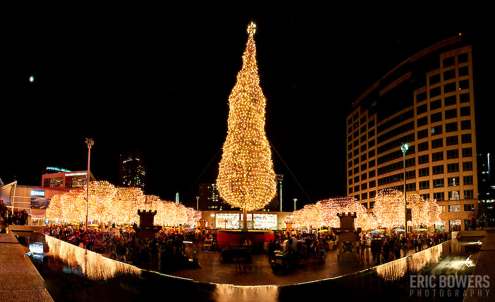 Lighting Ceremony of Mayor's Christmas Tree at Crown Center, Kansas City, Missouri. 2014 Christmas/Holiday season.
