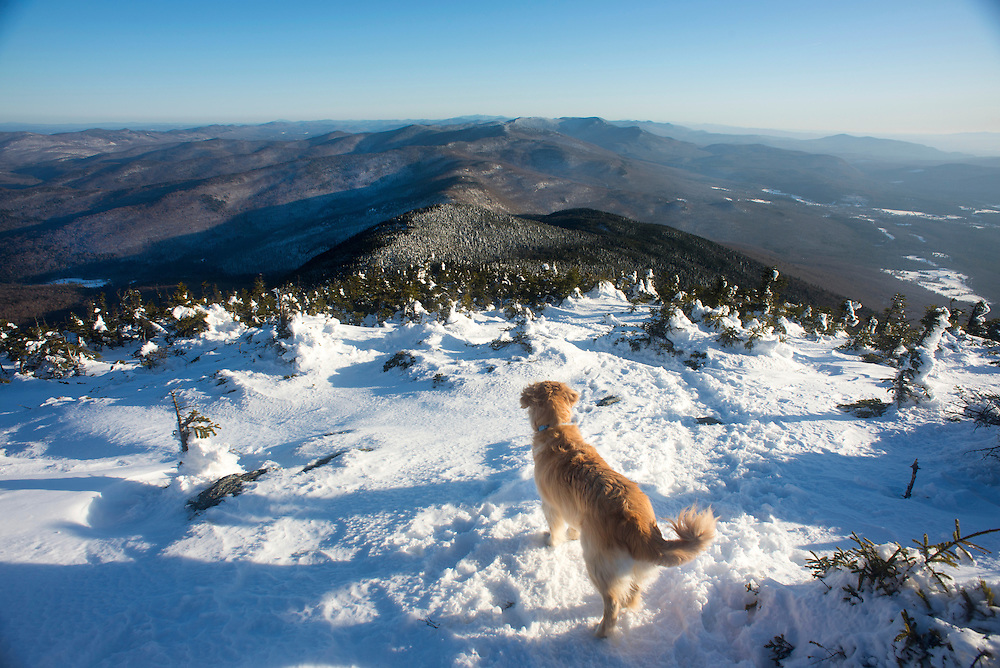 Hiking Mount Abraham, Vermont near the end of winter.