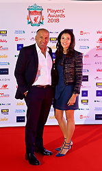 LIVERPOOL, ENGLAND - Thursday, May 10, 2018: Bobby Arora, of B&M, and wife Natasha Arora arrive on the red carpet for the Liverpool FC Players' Awards 2018 at Anfield. (Pic by David Rawcliffe/Propaganda)