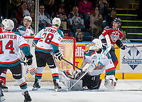 KELOWNA, CANADA - MARCH 28: Jackson Whistle #1 of Kelowna Rockets defends the net against the Tri-City Americans on March 28, 2015 at Prospera Place in Kelowna, British Columbia, Canada.  (Photo by Marissa Baecker/Shoot the Breeze)  *** Local Caption *** Jackson Whistle;