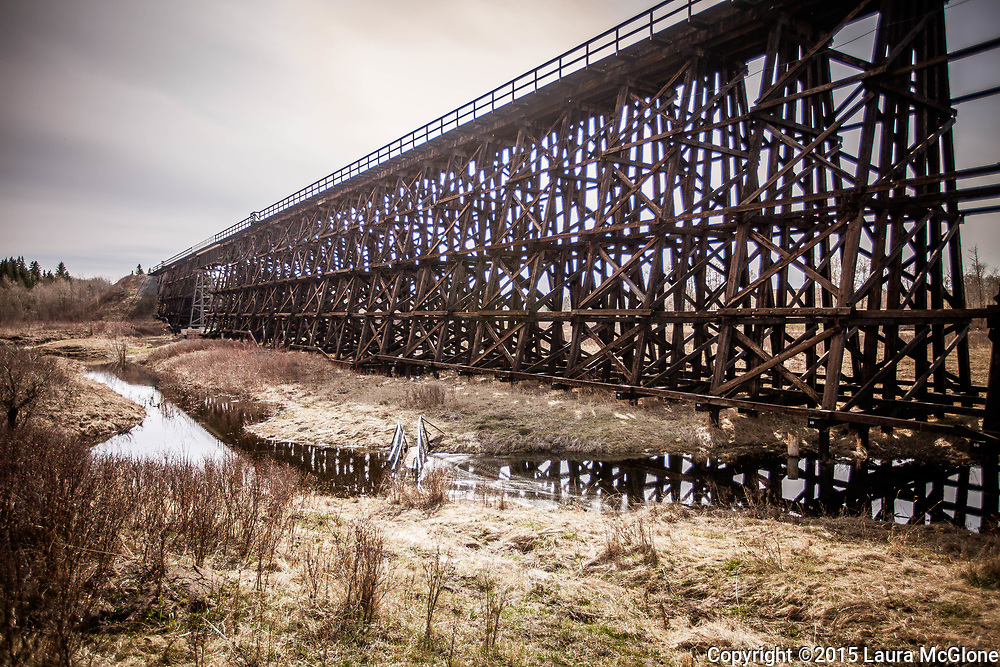 Rochfort Trestle Train Bridge, the longest wooden train bridge in North America, Alberta Canada